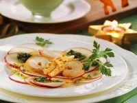 Apfel-Carpaccio mit Pesto und Garnelen