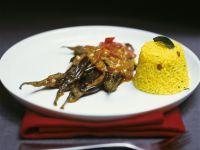 Auberginencurry mit orientalischem Reis (Pilaw)