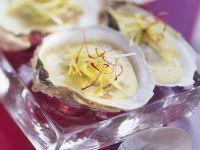 Austern mit Porree und Safran