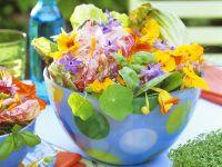 Blattsalat mit bunten Essblüten