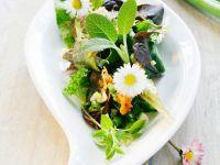 Blattsalat mit Gemüse und Gänseblümchen