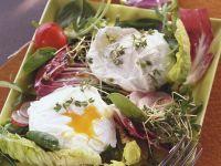 Blattsalat mit pochiertem Ei