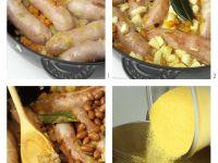 Borlottibohnen-Wursteintopf mit Polenta zubereiten