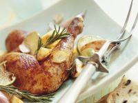 Brathähnchen mit Rosmarin, Limetten und Kartoffeln