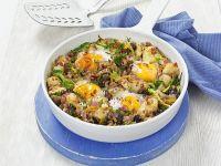 Bratkartoffeln mit Wirsing und Ei