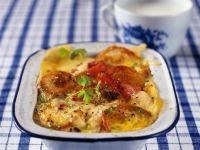 Brotgratin mit Käse und Tomaten