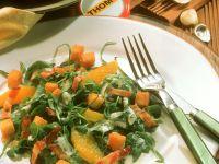 Brunnenkresse-Bärlauch-Salat mit Orange und Speck