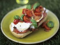 Bruschetta mit Tomaten und Zwiebeln