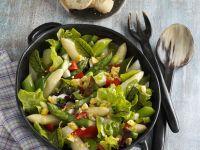 Bunter Blattsalat mit Ei und Spargel