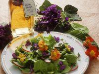 Bunter Salat mit Veilchen und Primeln
