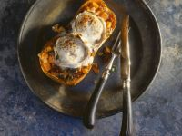 Butternut-Kürbis mit Ziegenkäse gebacken