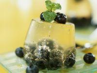 Champagnergelee mit Blaubeeren