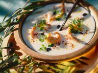 Cremesuppe mit Garnelen
