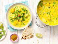 Curry mit Erbsen und Kartoffeln