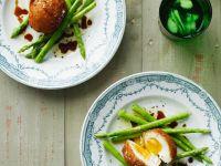 Eier frittiert mit Spargel