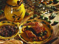 Ente mit Oliven gefüllt