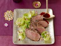Filet vom Reh mit Spätzle, Rosenkohl und Lebkuchensoße