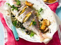 Fisch mit Pesto und wildem Reis