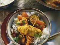 Fisch-Rouladen mit Curry und Gemüse