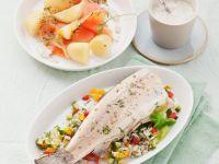 Forelle mit Reis und Gemüse & Lachs mit Kartoffeln und Kräuterdip