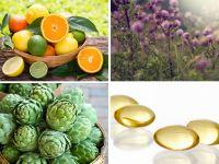 Collage aus Artischocke Zitrusfrüchten, Mariendistel und Taurinkapseln