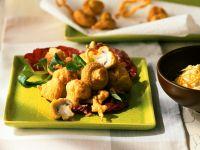 Gebackene Champignons mit Salat