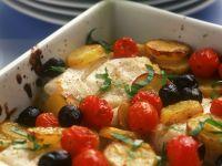 Gebackener Kabeljau mit Oliven