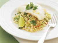 Gedämpfter Fisch mit Reis