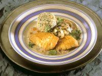 Geflügelschnitzel mit Pilzen und Roquefortcreme