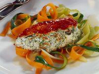 Gefüllte Hähnchenbrust mit Gemüse