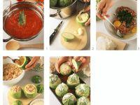 Gefüllte runde Zucchini auf korsische Art zubereiten