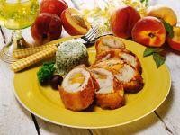 Gefülltes Hähnchenbrustfilet mit Pfirsich