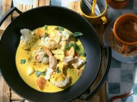 Gemüse-Kokoscurry mit Kabeljau