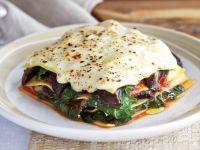 Gemüselasagne mit Pilzen und Spinat