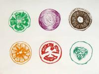 Kunstwerk aus Gemüsestempeln