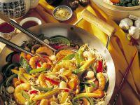 Gemüsewok mit Shrimps und Reis