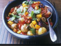 Geröstetes Gemüse und Koriander