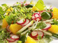 Gurken-Radieschensalat mit Orangendressing