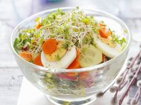 Gurkensalat mit Karotten, Kresse und Eiern