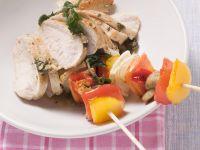 Hähnchenbrustfilet mit Gemüsespieß