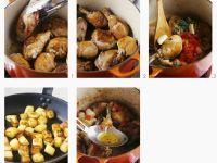 Hähnchenkeulen in Weinessig mit Kartoffelwürfeln zubereiten