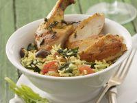 Hähnchenschlegel mit Spinat-Reis
