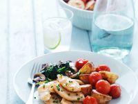 Hühnchen mit Ofengemüse und Pilz-Spinat-Pfanne