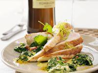Ingwer-Hähnchen mit Curry-Spinat