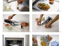 Kabeljau mit Gemüse in Folie gegart