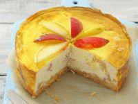 Käsekuchen mit Birne und Pfirsich