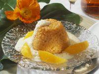 Karottenpudding mit Orangensoße