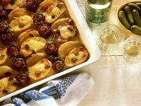 Kartoffel-Champignon-Gratin mit Zwiebeln