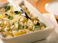 Kartoffel-Rosenkohl-Gratin mit Ziegenkäse