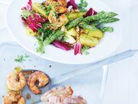 Kartoffel-Spargelsalat mit Shrimps